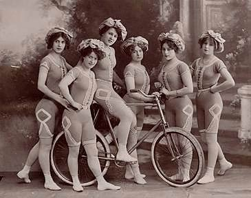 Lady cyclists with bare legs